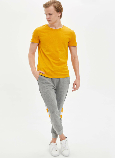 DeFacto Basic Slim Fit T-Shirt Sarı